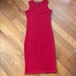 Red body con dress
